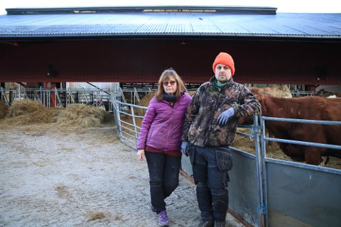 DRAMATISK: Det ble en dramatisk start på morgenen for Hanne Berit og sønnen Harald Sveen torsdag. Det nye fjøset deres sto i full fyr.  De klarte heldigvis å redde ut alle kuer, kalver og okser. — Det kunne gått mye verre, sier de.