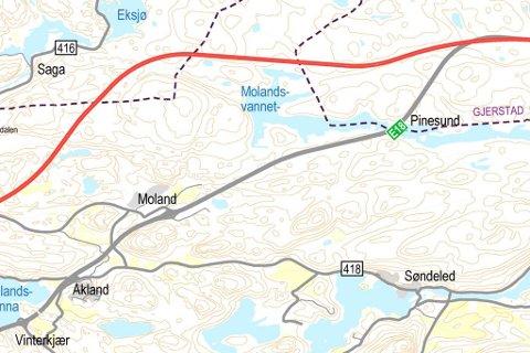 INNE I VARMEN: Fylkesmannen vil ikke ha veistrekket mellom Moland og Pinesund med i framtidsplanen. Styret i det interkommunale plansamarbeidet for ny E18 vil derimot gi veien og næringslivet på Moland en ny sjanse.