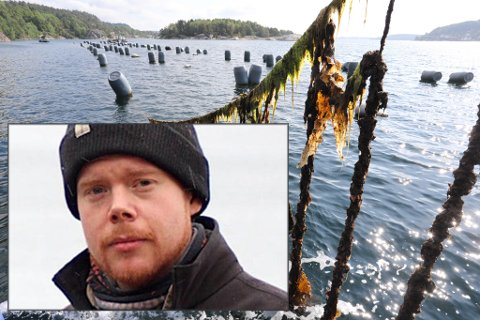 HENLAGT: Nestleder, Ruben Mjelde Oddekalv (innfelt), i Norges Miljøvernforbund er skuffet over at politiet henla forbundets anmeldelse av Agder Mussels AS.