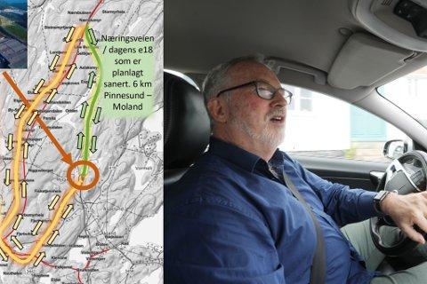 """JOBBER MOT KLOKKA OG RESTRIKSJONER: Den såkalte """"næringsveien"""" er utfordrende for Risør kommune og de næringsdrivende. Som kartet viser blir gul linje aktuell om veien ved Pinesund fjernes, og trafikken fra Moland må gå om nytt Risørkryss, kontra """"snarveien"""" som ligger i dagens vei. Ordfører Lunden sier koronarestriksjonen legger begrensninger på møteaktiviteten rundt veien."""