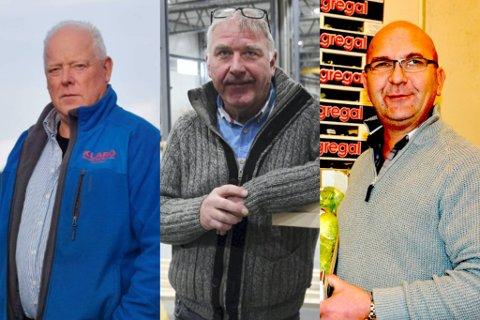 """SINTE: F.v. Bjørn Stiansen, Jan Lindal og Anders Lunde, alle drivere på Moland industriområde, er forbanna på vedtaket om at den såkalte """"Næringsveien"""" skal fjernes. Lindal"""