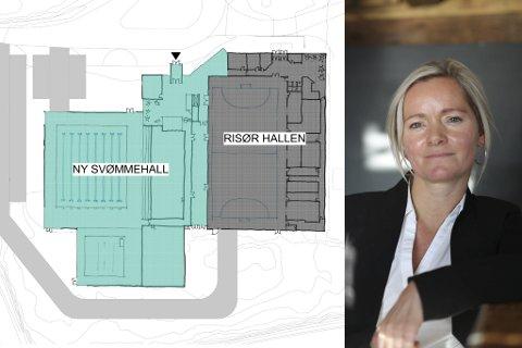OPPSTART NÅ: Prosjektet rundt den nye svømmehallen har oppstart straks - etter at bystyret fremskyndet prosjektet. Kommunalsjef Kamilla Solheim sier ett av de mange spørsmåla som må avklares er om man skal satse på nytt bygg eller om man skal rehabilitere den gamle hallen. Skissen stammer fra en mulighetsstudie utarbeidet av Rambøll i 2018, der svømmehallen ligger i sammenheng med Risørhallen.
