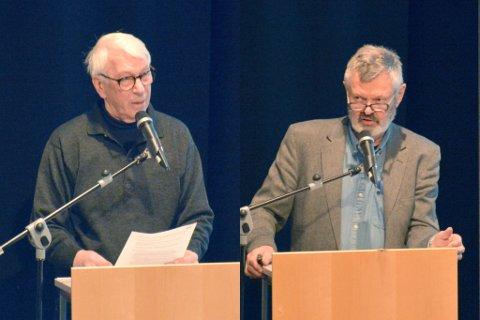 FANT FELLES GRUNN: Dag Gjesteby og Høyes forslag om en grundig gjennomgang av eiendomsskatten fikk Odd Eldrup Olsen (Ap) og resten av bystyrets velsignelse. Nå vil skatten prege politikken utover våren, frem til en endelig avgjørelse som trolig treffes i april. Begge foto: Hans Petter Bjerva