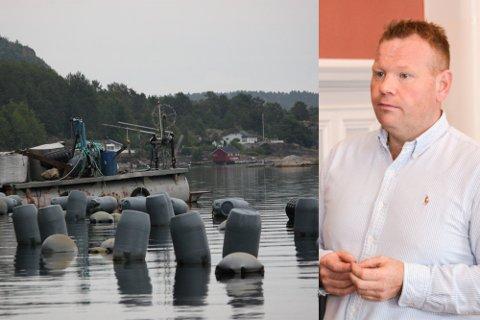 SKAL FJERNES: Fiskeridirektoratet skal fjerne de forlatte blåskjellanleggene i Nordfjorden og Kranfjorden. Her med Stian Lund (V).