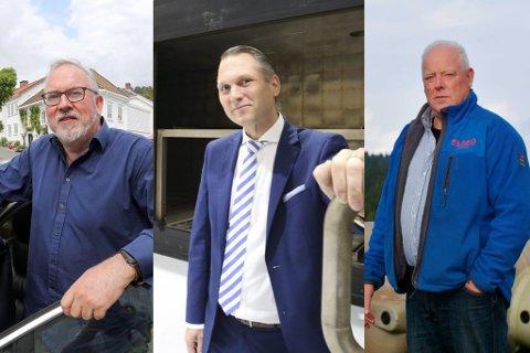 SKUFFA: Konsernsjef hos IMS Group AS, Roy Langseth (i midten) og daglig leder hos Klaro, Bjørn Stiansen (t.h.) sier de er svært skuffet over Statsforvalterens endelige svar i spørsmålet om Næringsveien. Ordfører Per Kr. Lunden (t.v.) sier han også er skuffet, men oppfatter at Statsforvalteren har gjort en grundig jobb i vurderingene.