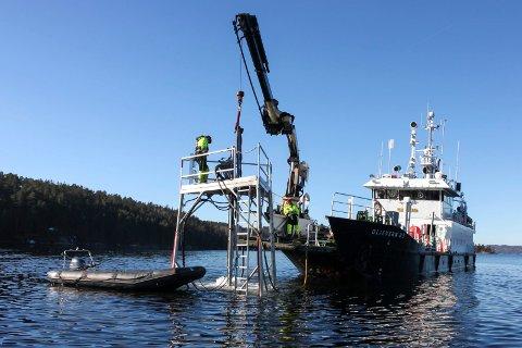 SKJÆR SKAL MERKES: Kystverket kommer til Risør i 2022 for å merke en rekke skjær som en del av oppgraderingen av seilingslederen fra Kristiansand til Risør. Her fra Kystverkets merking av et skjær i Sandnesfjorden i 2015.