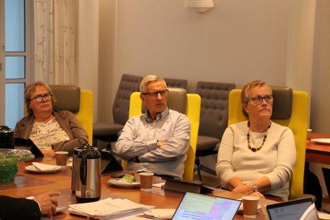 Nina Danielsen (Sp), Reidar Gausdal (V) og Ellen Matsen (H) var tre av formannskapets medlemmer som i kveld tok i mot tertialrapporten fra rådmannen.