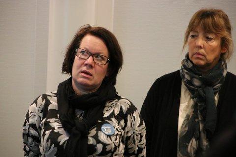 HAR IKKE NOK RESSURSER: Enhetsleder Ellen Barth Larsen for Tjørsvågheimen (til venstre) og leder Liv Karen Snerthammer for hjemmesykepleie og hjemmehjelp var blant de som redegjorde i formannskapet før helgen.