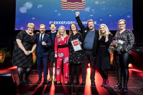 GLEDE: En lykkelig delegasjon fra Flekkefjord sammen med blant andre kulturminister Trine Skei Grande