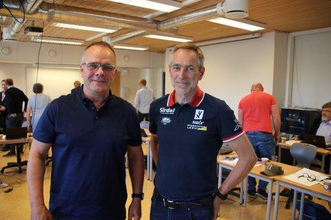 GODE NYHETER: Rektor Johan Vesteraas (til venstre) og prosjektleder Roger Grubben hadde gode skolenyheter fra Sirdal på gårsdagens møte med fylkespolitikere.