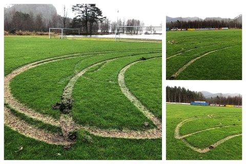 Slik så fotballbanen i Gyland ut etter helgens bilkjøring. Foto: Kjell Berntsen
