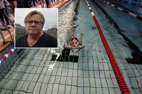 HAR VENTET I OVER TRE UKER: Svømmehallen i Flekkefjord har vært stengt for trening siden jul. Styreleder Torbjørn Witzøe (innfelt) håper hallen nå åpnes opp, slik at barn og unge kan få trene igjen.