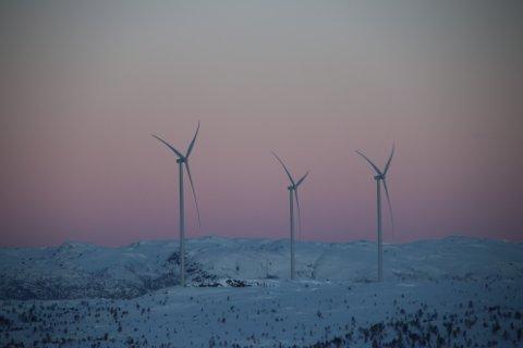 STORE: Vindturbinene ruver høyt over resten av vinterlandskapet.