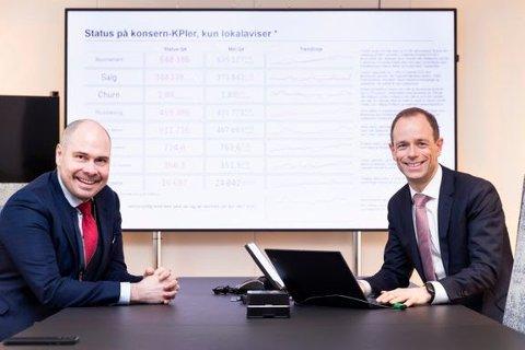 GODT ÅR: Konsernsjef Anders Møller Opdahl og visekonsernsjef og CFO Gisle Torheim, Amedia er svært fornøyde med driftsåret 2020, til tross for utfordringer knyttet til korona.