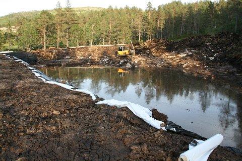 STORE DEPONIER: Deponier med avvanning for å fjerne vannet, skal lages i nærheten av der de store sandmassene skal fjernes fra elva