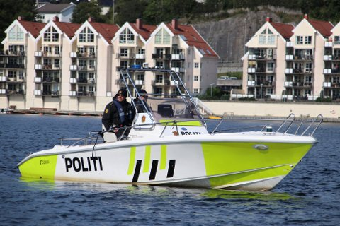 Politibåten fotografert i Flekkefjord under besøket til kronprins Haakon. Lister skal få en egen politibåt, men når det skjer og hvor den blir stasjonert er ikke avgjort.
