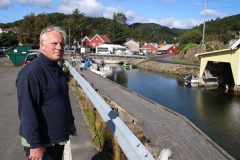 ØNSKER AKTIVITET: Hans Stø ønsker å bygge et næringsbygg og tre båtstøer her innerst i Gåsehalsen. Han mener bystyret med sitt vedtak stopper hans muligheter for å skape fire arbeidsplasser.