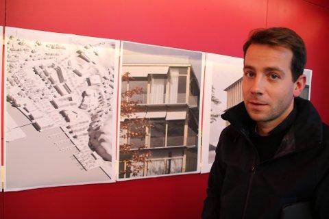 SKISSE: Det er østsiden av Flekkefjord som arkitektstudentene har sett nærmere på, og Jørgen Tandberg har allerede lagt frem noen av ideene for blant annet lokale arkitekter, politikere og entreprenører. Hvem som eventuelt bruker ideene videre er opp til kommunen, arkitekter og lokale utbyggere.