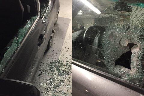 KNUSTE RUTER: Fem biler har fått rutene knust i parkeringshuset på Tjuvholmen torsdag morgen.