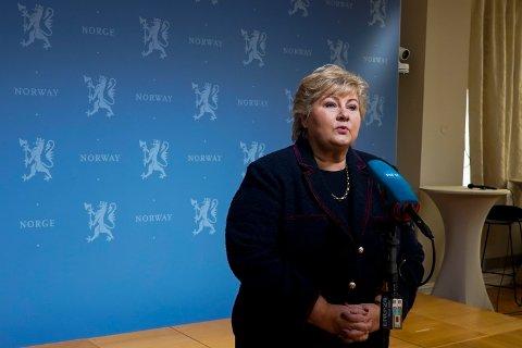 Oslo 20210123.  Statsminister Erna Solberg under et pressetreff om nedstningen av Norge Follo og kommunene rundet. Foto: Terje Pedersen / NTB