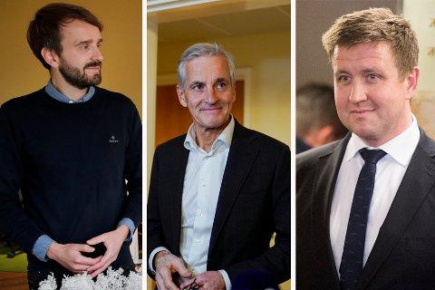 Jan Christian Vestre (til venstre) blir næringsminister, og Truls Wickholm (til høyre) blir statssekretær i Jonas Gahr Støres (i midten) regjeringen.