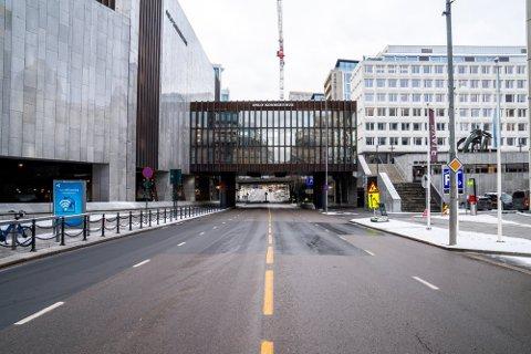 SKYTEEPISODE: Natt til 2. oktober ble en 22 år gammel mann skutt i tilknytning parkeringshuset på Oslo Konserthus her i Munkedamsveien.