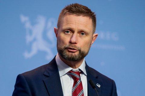 Oslo 20210216.  Helse- og omsorgsminister Bent Høie under en pressekonferanse om koronasituasjonen. Foto: Berit Roald / NTB
