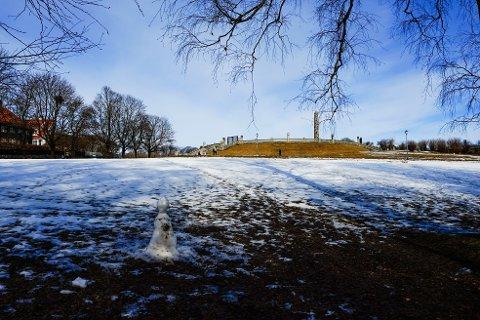 KAN KOMME SNØ: Utover ettermiddagen og kvelden søndag kan det komme snø i Oslo. Illustrasjonsbilde fra Frognerparken ved en tidligere anledning.
