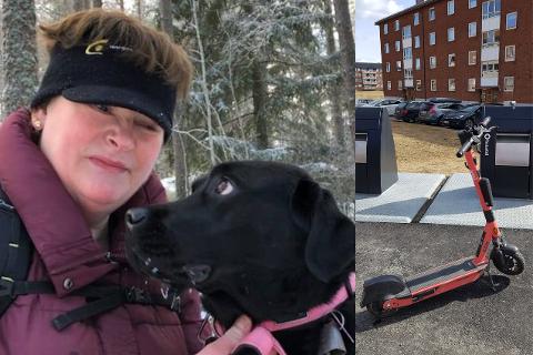 VANSKELIGT: Mette Nyhaug Leinum har vært blind hele livet og opplever det økende antallet elsparkesykler i byen som problematisk. Her sammen med førerhudnen Vesla.