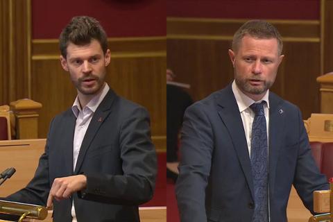 UENIG: Stemningen var ikke akkurat i taket mellom Rødt-leder Bjørnar Moxnes og helseminister Bent Høie om den planlagte nedleggelsen av Ullevål sykehus under spørretimen  onsdag.