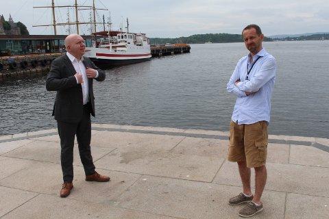 ØNSKER ALTERNATIV: Lars Petter Solås i Frp (t.v.) og Hallstein Bjercke i Venstre ønsker at bystyret går inn for å grundigere undersøke om alternativ vannforsyning til Oslo kan gjøres på en annen måte.