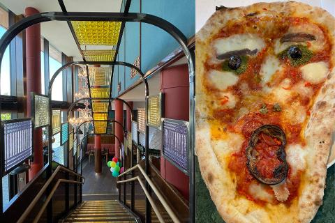 SKRIK: På Villa Paradiso Munch Brygge har de hentet interiørartikler fra Italia, som disse  Muranoglassne i trappgangen. Med Munchmuseet som nærmeste nabo tilbyr de også en pizza inspirert av kunstneren Edvard Munch sitt «Skrik»-maleri.