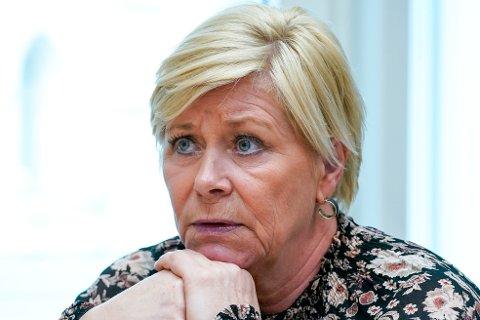 UNDER ETTERFORSKNING: Siv Jensen etterforskes fremdeles av politiet i Oslo for brudd på koronareglene.