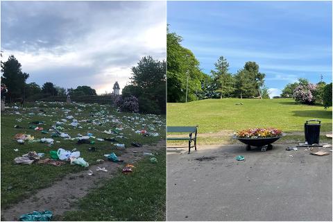 SER DU SØPPELET?: Det så kanskje rent ut i parken på St. Hanshaugen mandag (høyre) sammenlignet med dagen før....