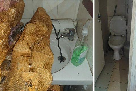 LAGRET PÅ TOALETT: Vedposer lagret foran håndvasken på toalettet. SVEIP FOR FLERE BILDER.