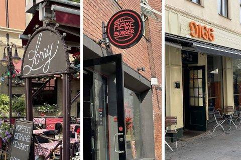 KONTROLLERT: Fra venstre: Lorry, Flamme Burger og Digg Pizza er tre av spisestedene som har fått Mattilsynet på smilefjeskontroll. Sveip for bredere bilder.