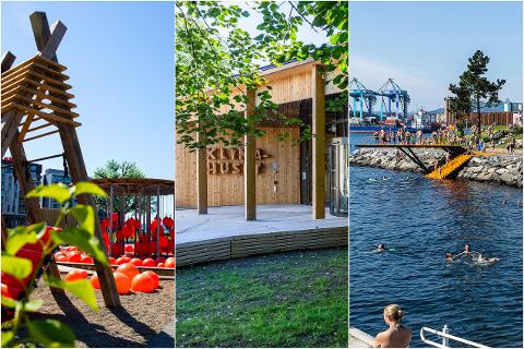 KAN FÅ PRIS: I tillegg til Trettenparken (t.v), Klimahuset i Botanisk Hage  og Bekkelagsbadet er Oslo kommunes nye plan for hvordan gatene i byen skal utformes, blant finalefinalistene.