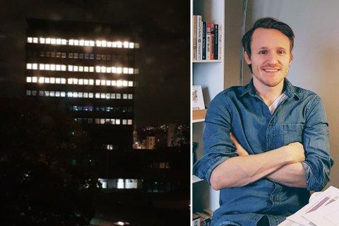 FRUSTRERT: Bildet til venstre ble tatt natt til mandag 27. september, ved midnatt. Tøyen-beboer Kevin Eide (37) er lei av det han kaller lysforurensning.