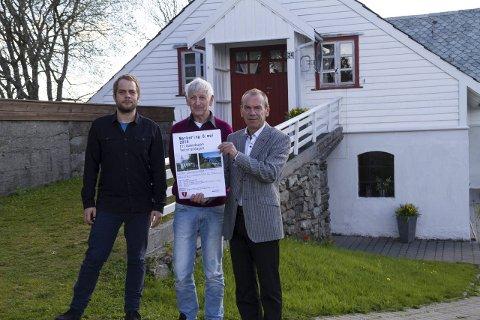 8. MAI-MARKERING: Eirik Utne (t.v.), Atle Bondevik og Nils Marton Aadland (t.h.) inviterar til 70års-markering for Norges frigjering 8. Mai.