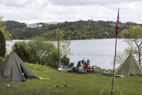 HÅØY: Teltleiren i friområdet på Håøy.