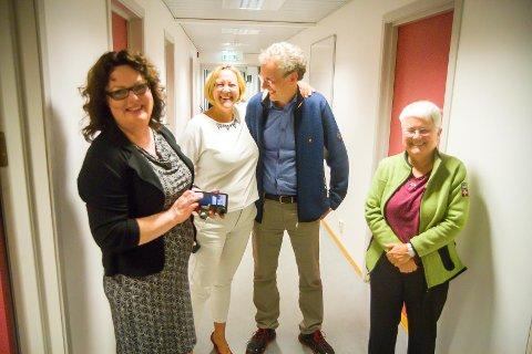 Dei nye samarbeidspartnarane. Nina Bognøy (Ap), Astrid Aarhus Byrknes (KrF), Sveinung Toft (V) og Anna K. Valle (Sp).