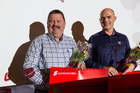 Helge Dyrkolbotn (t.v.), dagleg leiar i Kilstraumen Brygge AS og Tormod Grindheim ved Kolos inspections, fekk begge 100.000 kroner kvar frå SPINN-fondet.