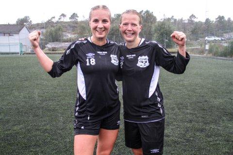 STO FOR MÅLA: Marte Larsen (t.v.) og Bente Haveland sikra 2-1-siger for ENK under fjorårets sesong.
