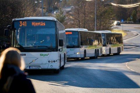 Bussar på Flatøy.