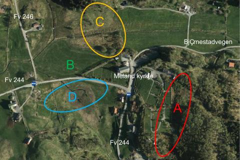 Flyfoto viser Meland kyrkje og dei ulike utvidingsalternativa.