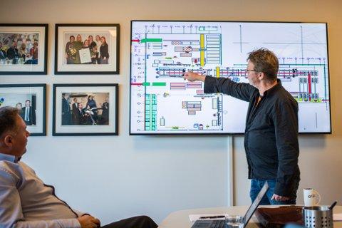 Norske Elementfabrikker AS etablerer seg no i Meland. Dagleg leiar Arvid Magnar Birkeland viser fram planane for produksjonslinja av ferdigelement til hus.