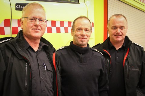 Av desse tre er det berre Romarheim som skal fortsetje som brannsjef. F.v.: Rolf Henning Myrmel, Karl Johannes Romarheim og Stein Ove Valdersnes.