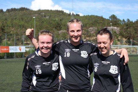 Målscorarane for dagen, Kristine Elise Guldbech Instefjord, Marte Larsen og Anna Øvretveit, var svært nøgde med sigeren.