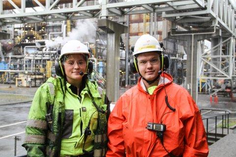Eilen Nilsen og Marius Johansen ønsker begge å bli verande i bedrifta når dei er ferdige med læretida.