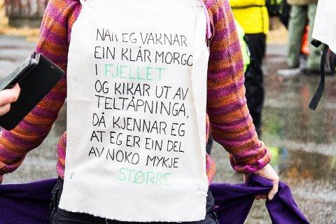 Naturområda i Nordhordland er aktuelle for utbygging av vindkraft. Planane har det siste halvåret møtt massiv motstand. Her eit bilde frå «støttemarsjen» for Sølsheimen i november i fjor. Arkivfoto: Irene Bratteng Fossheim